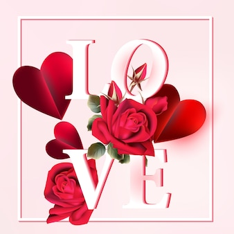 Love background with floral details