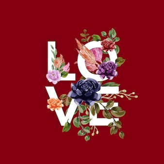 Love background with flowers & leaves