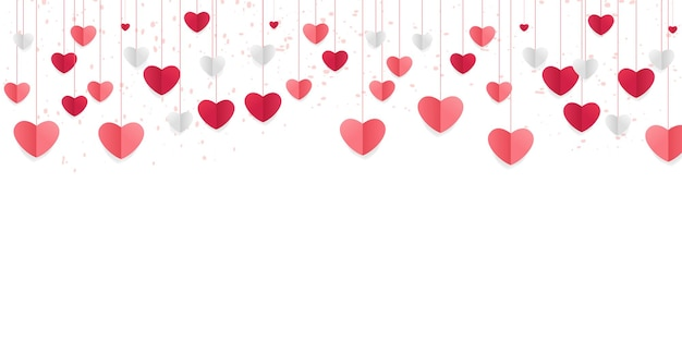 Love background with heart shapes. horizontal banner with hanging hearts, paper cut craft.