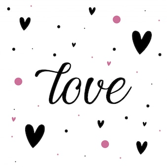 Love background with hearts and dots