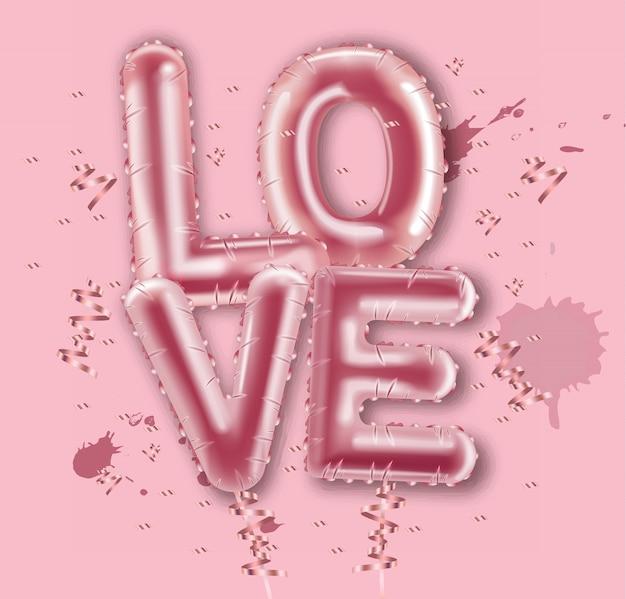 Love balloon foil text
