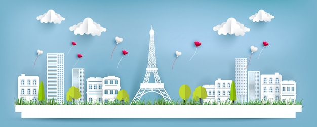Love balloons fly over the city and eiffel tower. paper art design. happy valentine's day