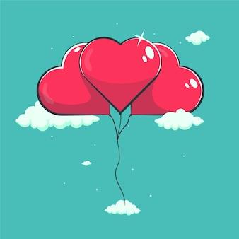 Иллюстрация любви воздушные шары