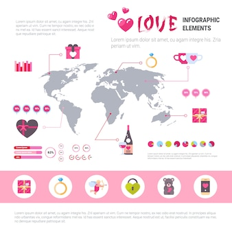 Love banner infographic set of template icons over pink background, valentines day concept
