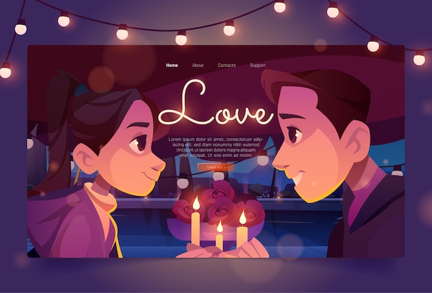 Love banner with happy couple on date
