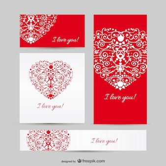 장식용 마음으로 빨간색과 흰색 사랑 배너
