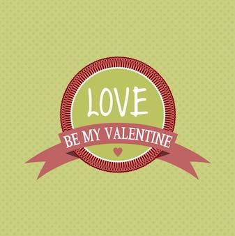 愛は緑の背景に私のバレンタインのバッジであります