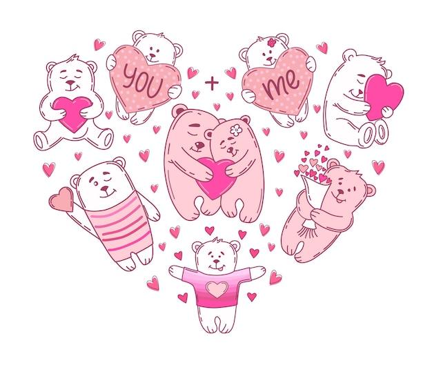 Любовь медведи с набором сердца. день святого валентина