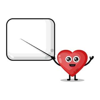 Love becomes a teacher cute character mascot