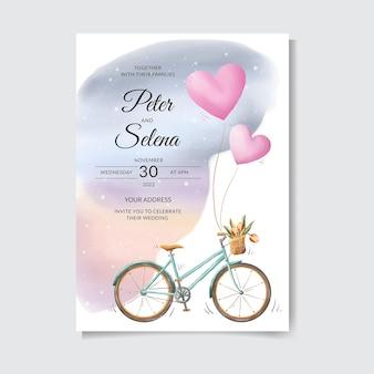 自転車を愛する美しくてかわいい手描き水彩結婚式の招待状プレミアムベクトル