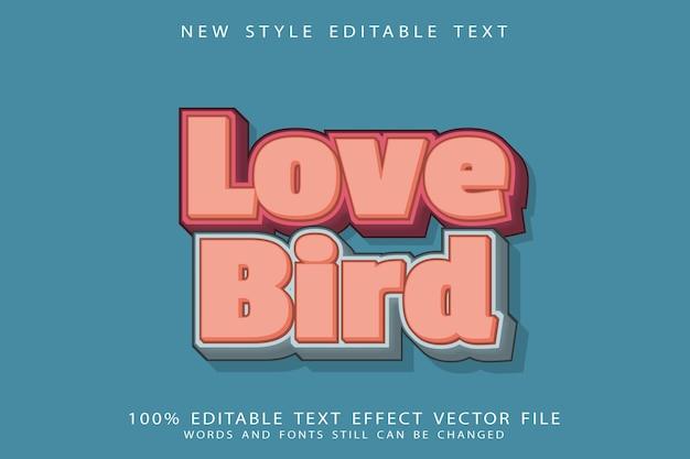 Love bird text effect emboss cartoon style