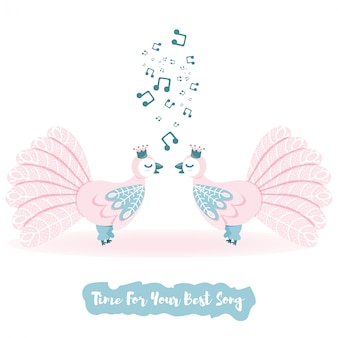 Love bird  vector set. singing bird vector light palette. cartoon vector