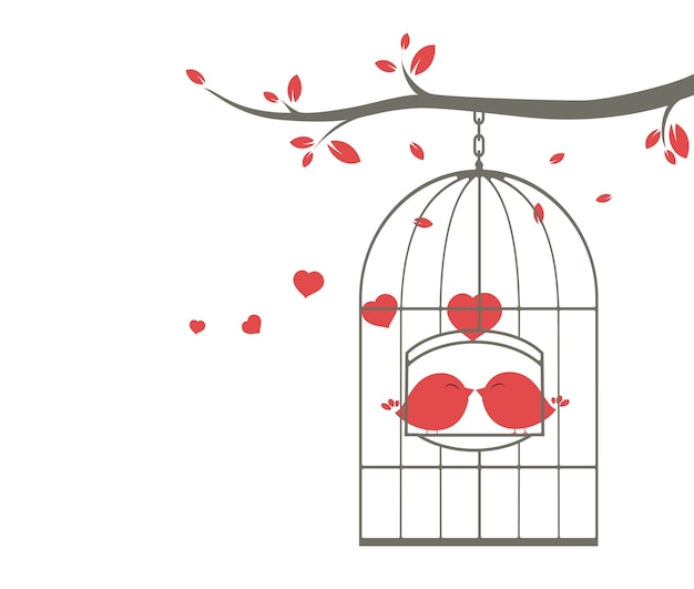 Love birds singing on the cage