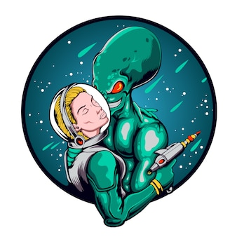 Love blind between astronaut and alien illustration