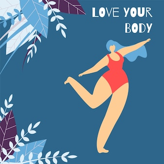 Love body positive lettering flat design banner