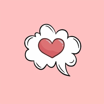愛バブルスピーチシンボルソーシャルメディア投稿バレンタインベクトルイラスト