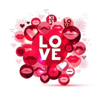 Абстрактные векторные иллюстрации символов любви в красных и розовых кругов