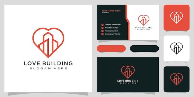 사랑 건물 로고 벡터 디자인 및 명함