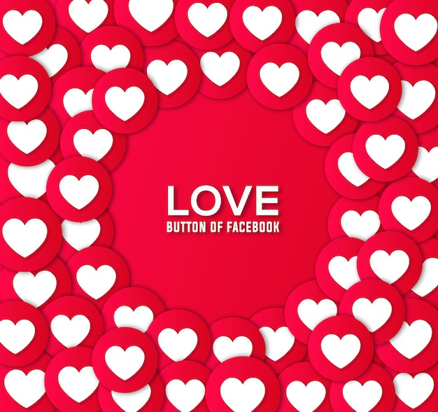 Love button of facebook and vector background design