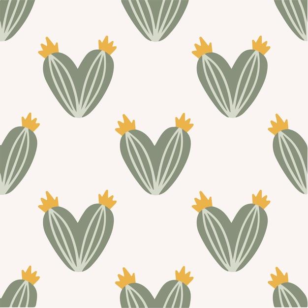 Love cactus pattern background social media post plant vector illustration