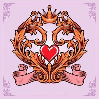 사랑 서예 프레임 빈티지 장식품 귀하의 작업 로고, 마스코트 상품 티셔츠, 스티커 및 레이블 디자인, 포스터, 인사말 카드 광고 비즈니스 회사 또는 브랜드에 대 한 벡터 일러스트.