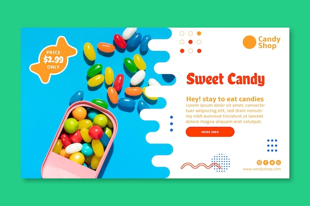 Love candy horizontal banner template