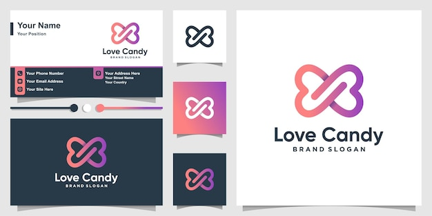 Love candy logo with cute gradient color style and business card design