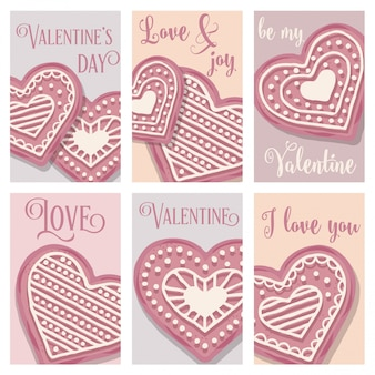 Love card  collection with pink heart cookies