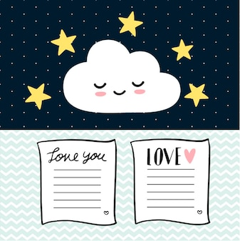 Love card and cute cloud