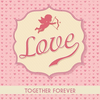Love card over pink background vector illustration
