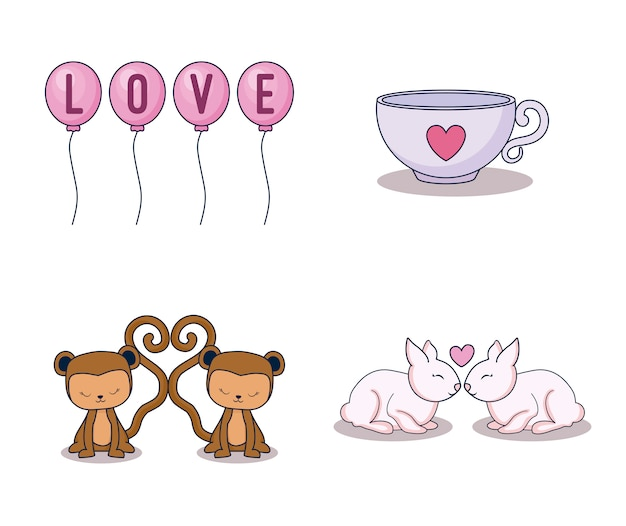 Love card set icons