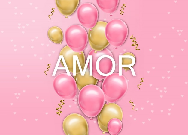 Love card with balloons vector realistic
