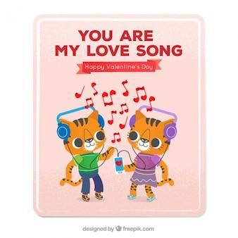 음악을 듣고 새끼 고양이와 사랑 카드