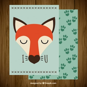 Love card with lovely little fox