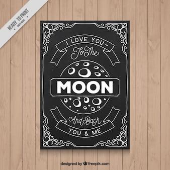 Love card with a moon in blackboard effect