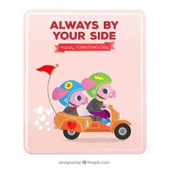 Love card with piglets on a motorbike