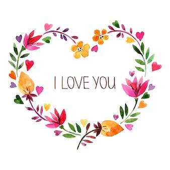 水彩花の花束と愛のカード。ハートの形でバレンタインデーのベクトル図