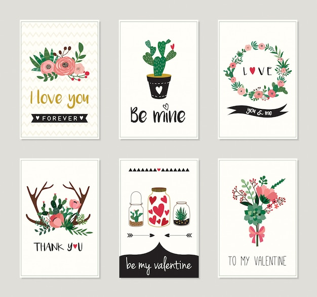 Love cardsor invitations collection with  floral, decorative design