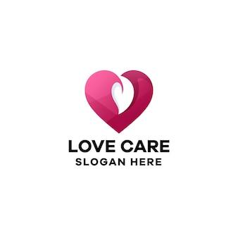 愛のケアのグラデーションのロゴのテンプレート