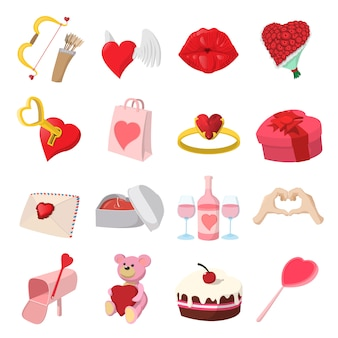 Love cartoon icons set isolated