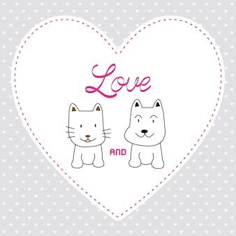 愛の猫と犬のカード4