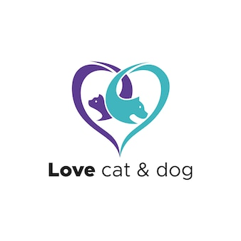 Love cat and dog logo
