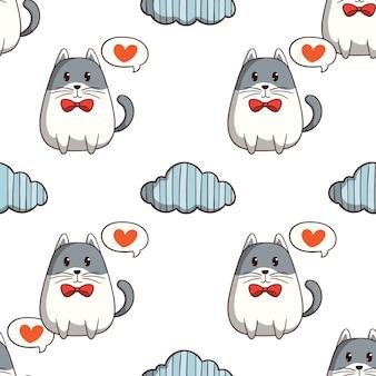 白い背景の上の色の落書きスタイルのシームレスなパターンで雲と猫を愛する