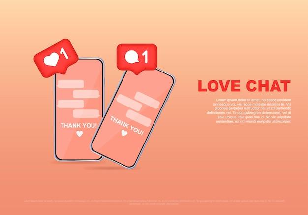 사랑 채팅 온라인 데이트 또는 소셜 네트워크 가상 관계 웹 사이트 및 모바일 웹 사이트 개발 배너 엽서 광고 벡터 일러스트 레이 션에 대한 사랑 메시지 개념