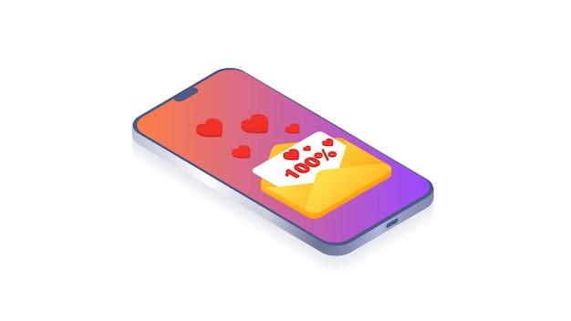 사랑 채팅 온라인 데이트 또는 소셜 네트워크 가상 관계 웹 사이트에 대한 사랑 messageconcept