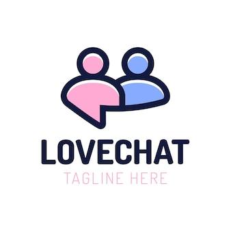 사랑 채팅, 사람들 데이트 로고 디자인.