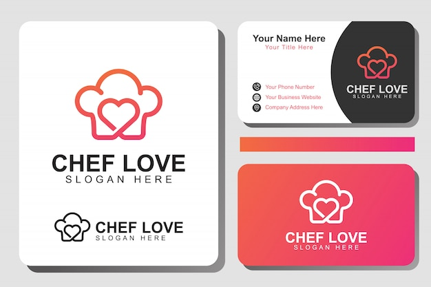 Love chef food logo. modern line cooking food logo with identity design template