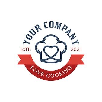 리본 로고와 함께 요리사 레스토랑 로고를 사랑 해요.