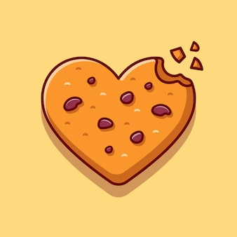 Love chocolate cookies cartoon icon illustration.