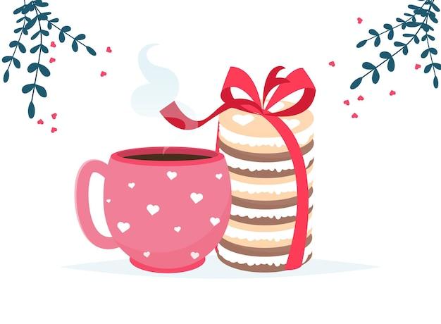 コーヒーカップ、マカロンデザート、チョコレート菓子カードが大好きです。愛してるカード。ロマンチックな休日のバレンタインデー。